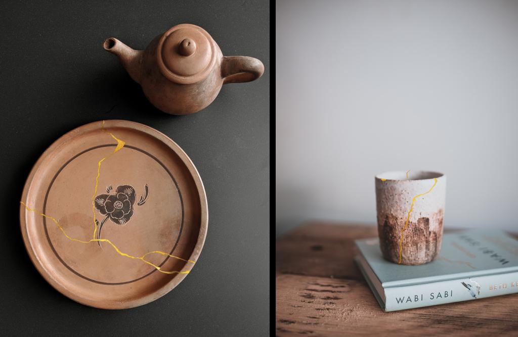 Le kintsugi sur de la vaisselle : une assiète en terre cuite et une tasse en céramique