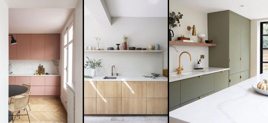 Inspirations pour une cuisine minimaliste : une cuisine terra cotta, une cuisine en bois et une cuisine kaki. Et toujours du bois.