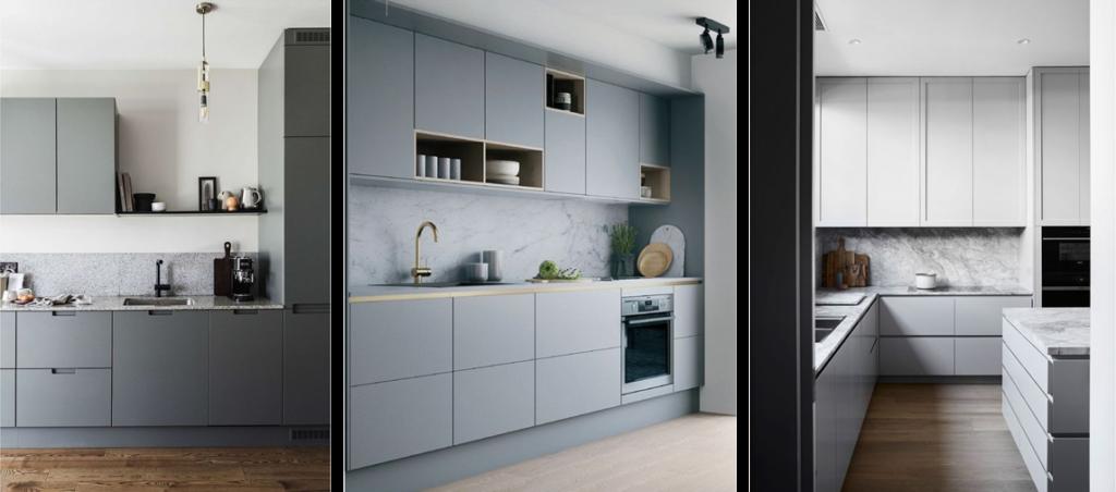 Inspiration cuisine minimaliste : trois photos de cuisine grise et épurées