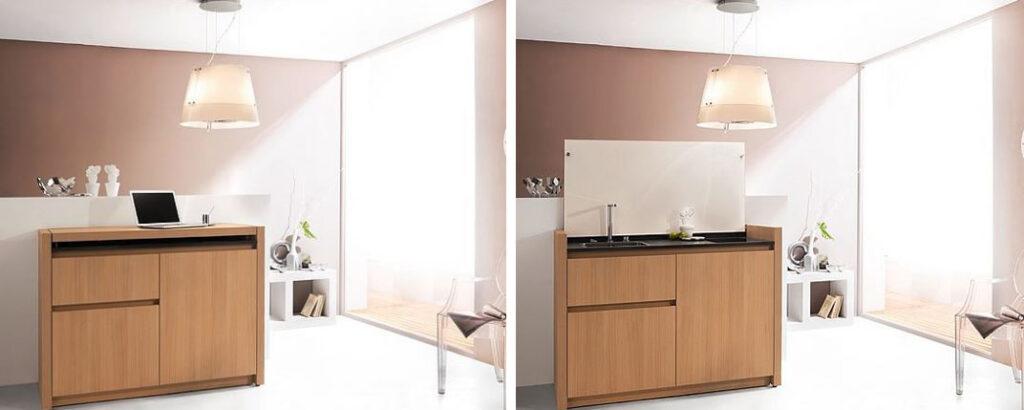 cuisine meuble : optimisation de la cuisine dans 1m² dans cette commode en bois toute équipée.