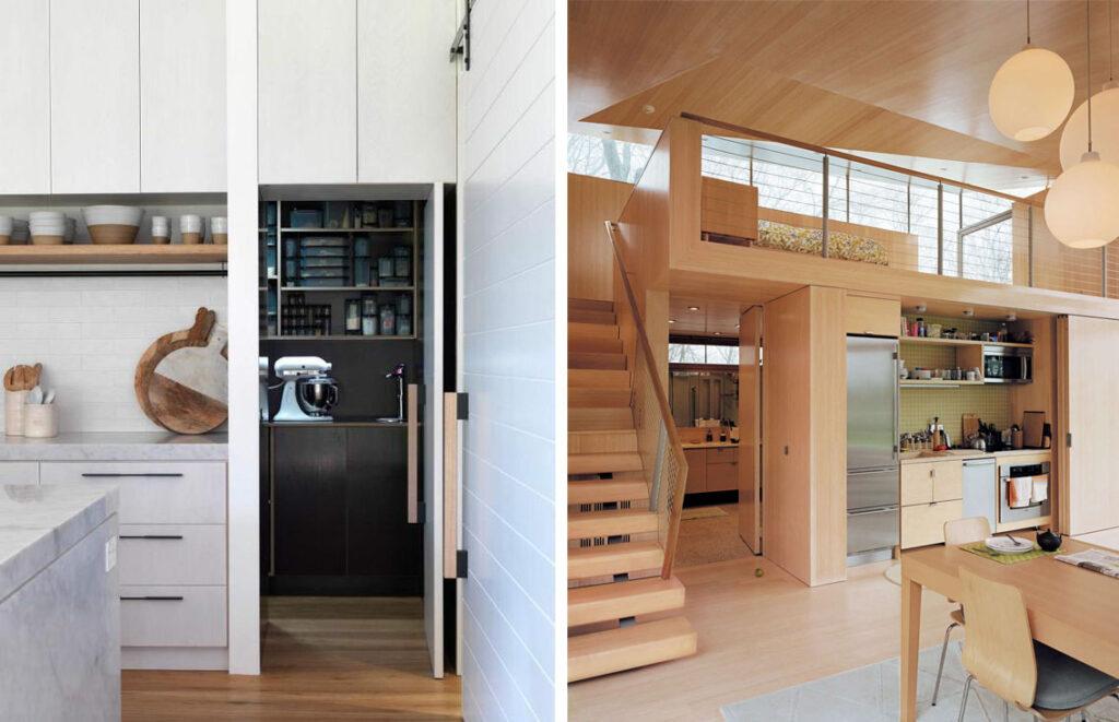 Cuisine cachée : tous les styles sont permis. A gauche des matériaux clairs et neutres comme le blanc et le marbre. A droite, un intérieur tout bois pour plus de chaleur.
