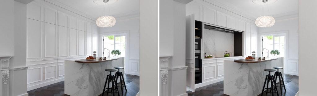 cuisine cachée : on pousse le sens du détail avec des façades blanches moulurées.